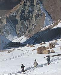 Children near a mountain