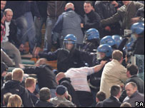 Police and fans clash at Rome's Stadio Olimpico