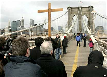 Way of the Cross procession at Brooklyn Bridge.