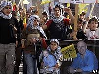 Manifestaciones en Gaza pidiendo la libertad de Alan Johnston
