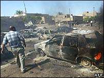 Aftermath of a bombing in Iraq