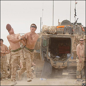 42 Commando Royal Marines playing with a ball