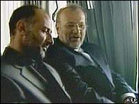 Freed Iranian envoy Jalal Sharafi [L] with Foreign Minister Manouchehr Mottaki