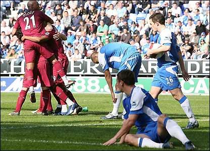 Bolton celebrate Nicolas Anelka's goal