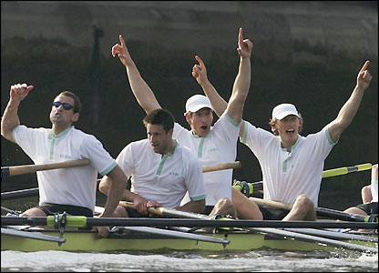 The Cambridge crew celebrate