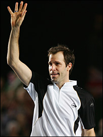 Greg Rusedski bids farewell to the Birmingham crowd