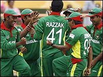 Bangladesh celebrate their stunning win over South Africa