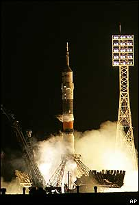 Russian Soyuz spacecraft carrying Charles Simonyi