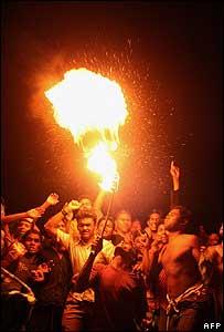 Bangladeshi fans celebrating in Dhaka