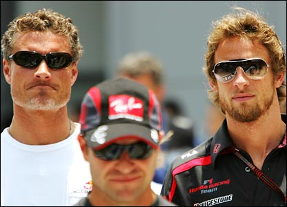 Red Bull's David Coulthard (left) and Honda's Jenson Button (right)