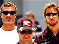 David Coulthard (left) and Jenson Button (far right) in Malaysia