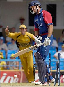 Vaughan goes for five allowing Ricky Ponting to celebrate