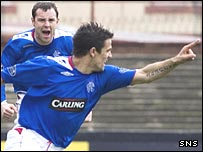 Nacho Novo celebrates giving Rangers an early lead
