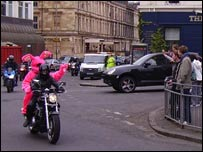 A pink bunny is given a ride round Glasgow (picture by Rory Weller)