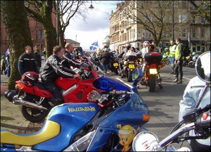 Bikers gather in Glasgow