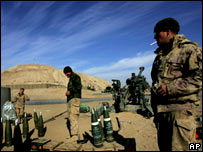 Canadian army soldiers at a forward operating base west of Kandahar on 21 January 2007