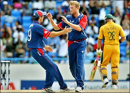 Vaughan and Flintoff celebrate the opening wicket