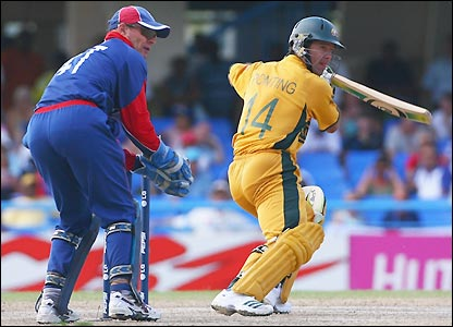 Ponting watches his shot leave the square
