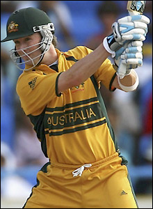 Clarke plays a shot as he ably supports Ponting