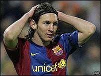 La imagen de l sufrimiento de Messi.
