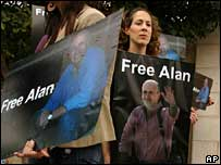 Journalists protest in support of Alan Johnston in Ramallah