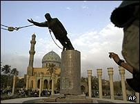 Toppled Saddam statue