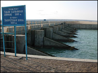 A dam which seal off part of the Aral Sea