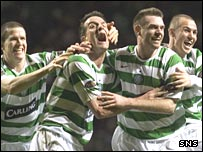 Celtic celebrate a late home win over Hearts