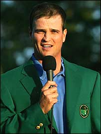 Zach Johnson speaks to the gallery after his Masters victory