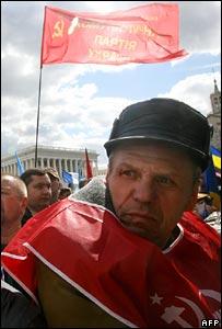 Demonstrator at pro-Yanukovych rally in Kiev