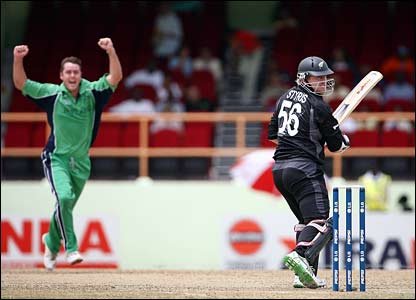 Dave Langford-Smith celebrates the wicket of Scott Styris