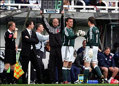Newcastle goalkeeper Shay Given is replaced by Steve Harper