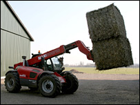 Haybale being used for biomass