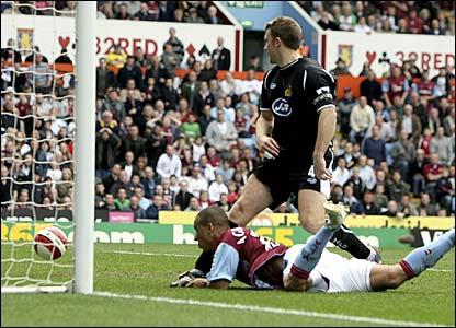 Gabriel Agbonlahor scores Aston Villa's equaliser against Wigan