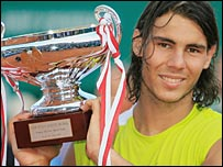 Rafael Nadal with the Monte Carlo Masters trophy
