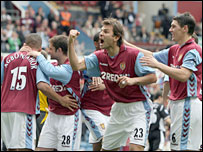 Aston Villa celebrate their equaliser