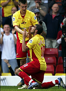 Hameur Bouazza (right) celebrates scoring for Watford