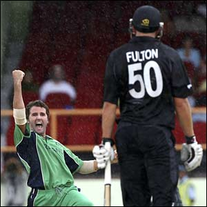 New Zealand's Peter Fulton is out lbw to Kyle McCallan
