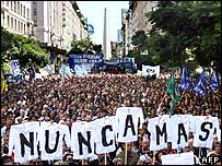 Workers protest in central Buenos Aires