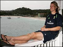 Nathan Bracken relaxes in Antigua