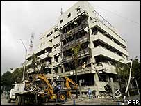 Destroyed police headquarters in Cali, Colombia, 9 April 2007