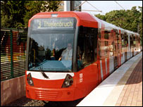 One of the new trams currently operating in Germany