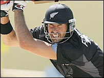 New Zealand captain Stephen Fleming his through the off side