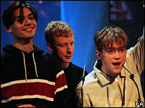 Dave Rowntree (centre) with fellow Blur members at the Brits in 1996