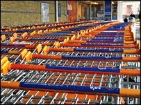 Sainsbury's shopping trolleys