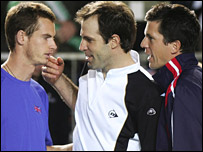 Andy Murray, Greg Rusedski and Tim Henman