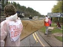 Protesters outside the power station