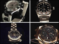 Some of the watches recovered by police. Pic from SDEA