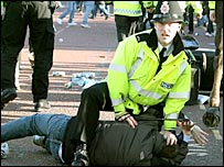 Police contained the trouble at Old Trafford