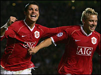 Cristiano Ronaldo celebrates after scoring United's fifth
